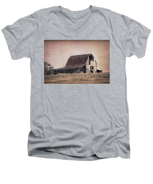 Men's V-Neck T-Shirt featuring the photograph Rustic Barn by Tom Mc Nemar