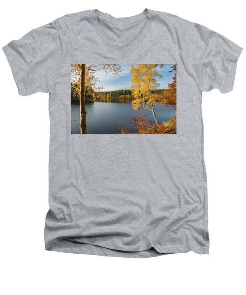 Saegemuellerteich, Harz Men's V-Neck T-Shirt by Andreas Levi