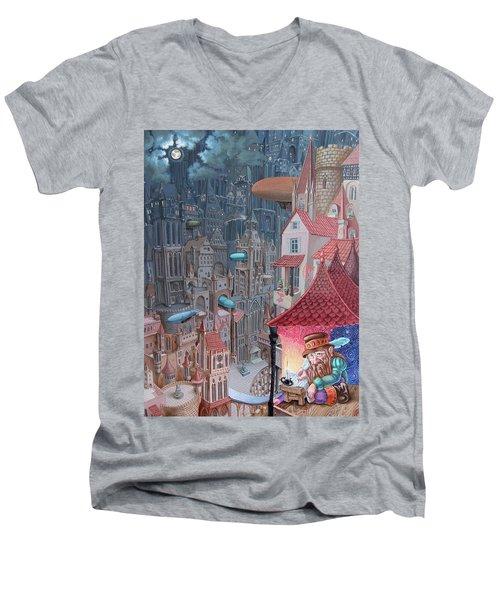 Saga Of The City Of Zeppelins Men's V-Neck T-Shirt
