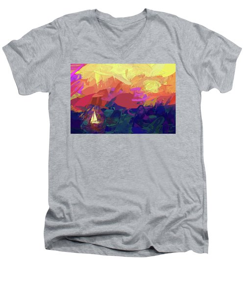 Men's V-Neck T-Shirt featuring the photograph Sailing by James Bethanis