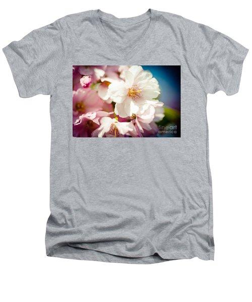 Sakura Blossoms Pink Cherry Artmif.lv Men's V-Neck T-Shirt
