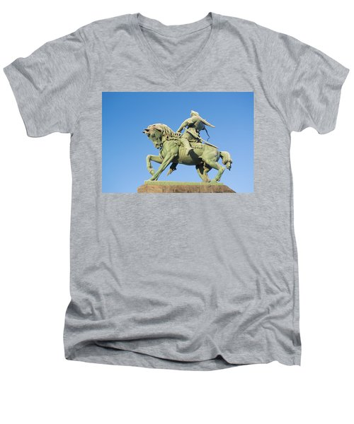 Men's V-Neck T-Shirt featuring the photograph Salavat Yulaev Ufa Russian Hero by John Williams