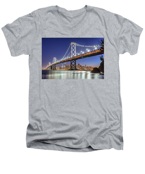 San Francisco City Lights Men's V-Neck T-Shirt by JR Photography