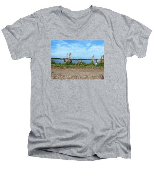 Sandhill Crane Family  Men's V-Neck T-Shirt by Chris Mercer