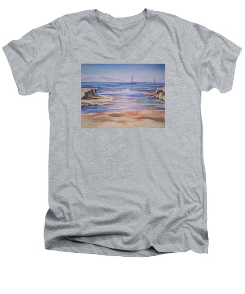 Santa Cruz Men's V-Neck T-Shirt by Becky Chappell