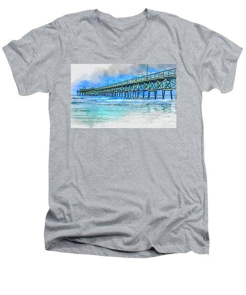 Sea Blue - Cherry Grove Pier Men's V-Neck T-Shirt