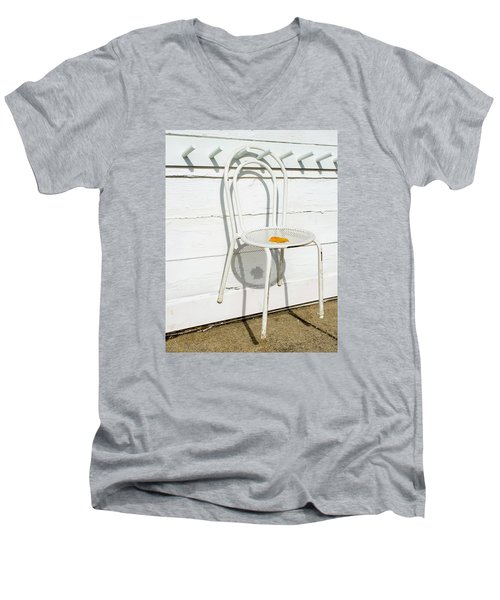 Men's V-Neck T-Shirt featuring the photograph Shadows Of Suspended White Chair And Autumn Leaf by Gary Slawsky