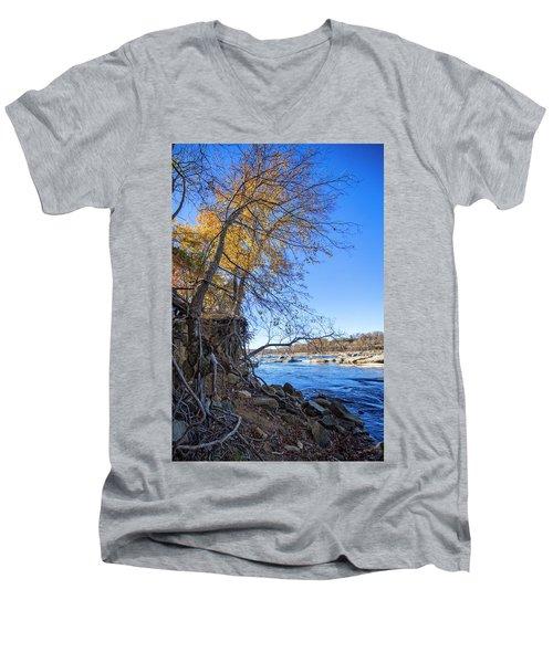 Men's V-Neck T-Shirt featuring the photograph Shoreline by Alan Raasch