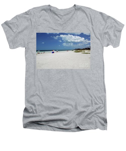 Men's V-Neck T-Shirt featuring the photograph Siesta Key Beach by Gary Wonning