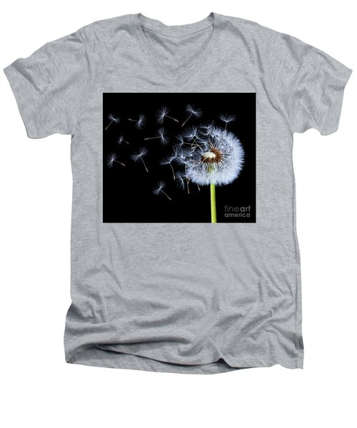 Men's V-Neck T-Shirt featuring the photograph Silhouettes Of Dandelions by Bess Hamiti