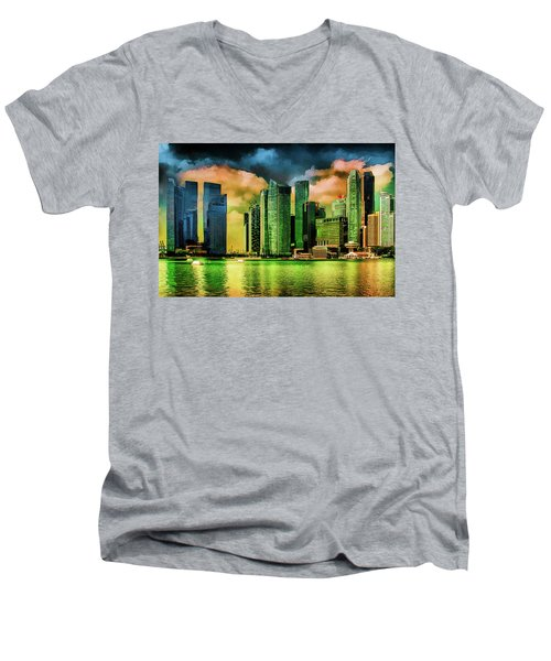 Singapore Skyline Men's V-Neck T-Shirt by Joseph Hollingsworth