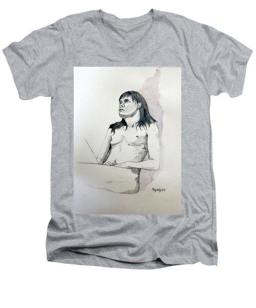 Sketch For White Amber Men's V-Neck T-Shirt