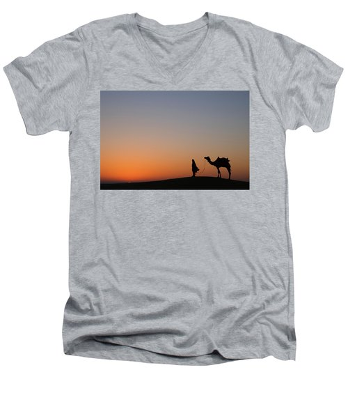 Skn 0866 Just Out Men's V-Neck T-Shirt by Sunil Kapadia
