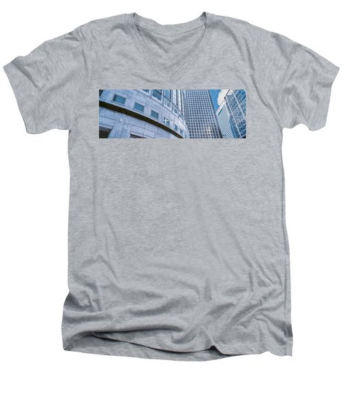 Skyscrapers In A City, Canary Wharf Men's V-Neck T-Shirt by Panoramic Images