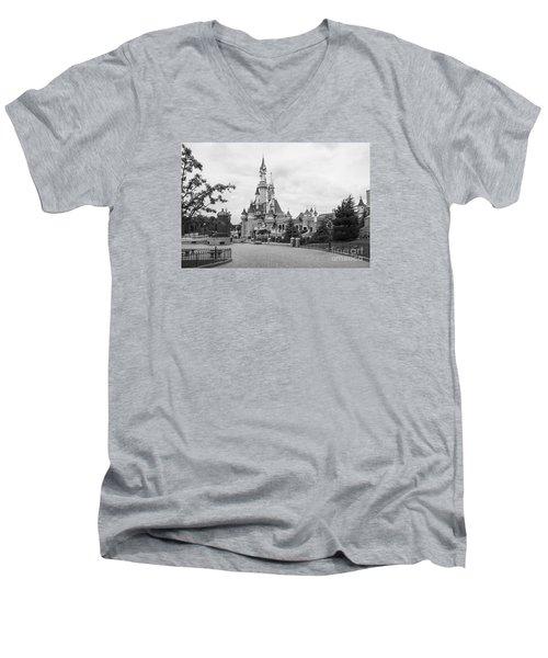Sleeping Beauty Castle Men's V-Neck T-Shirt by Roger Lighterness