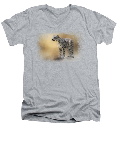 Snow Leopard Men's V-Neck T-Shirt by Jai Johnson