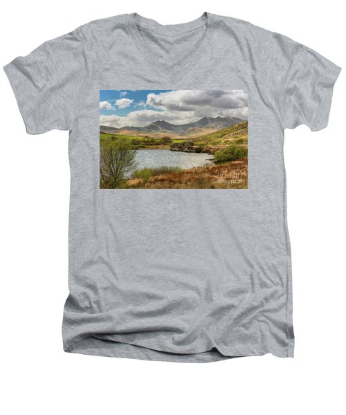 Men's V-Neck T-Shirt featuring the photograph Snowdon Horseshoe by Adrian Evans