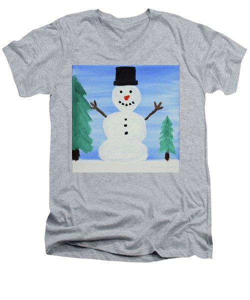Snowman Men's V-Neck T-Shirt by Anthony LaRocca