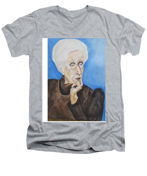 Men's V-Neck T-Shirt featuring the painting So Curious by Esther Newman-Cohen