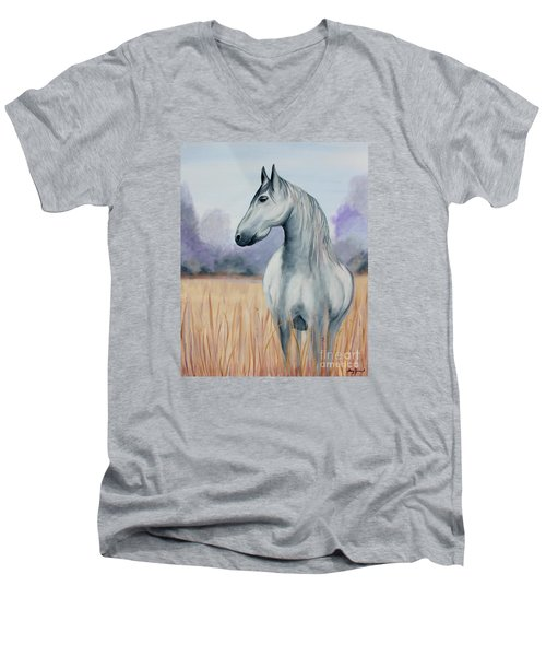 Men's V-Neck T-Shirt featuring the painting Solemn Spirit by Stacey Zimmerman