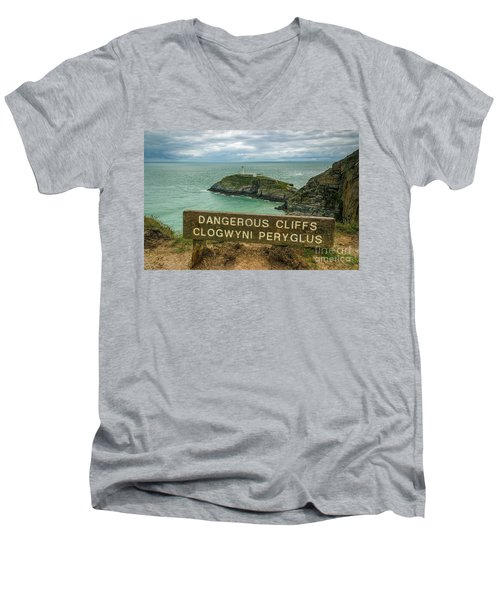 South Stack Lighthouse Men's V-Neck T-Shirt by Ian Mitchell