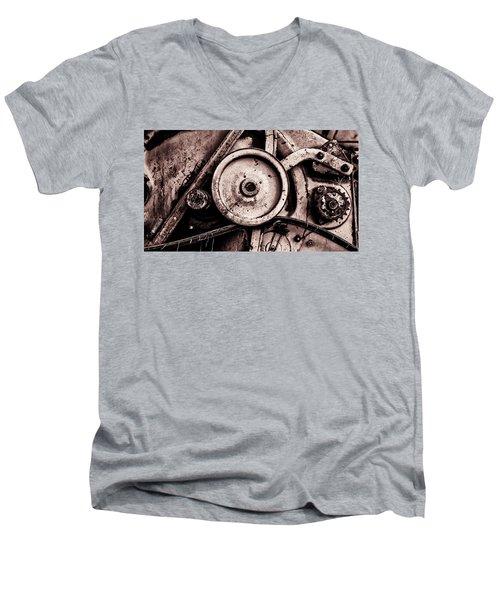 Soviet Ussr Combine Harvester Abstract Cogs In Monochrome Men's V-Neck T-Shirt