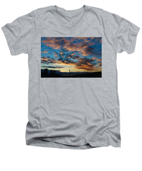 Space Needle In Clouds Men's V-Neck T-Shirt by Suzanne Lorenz