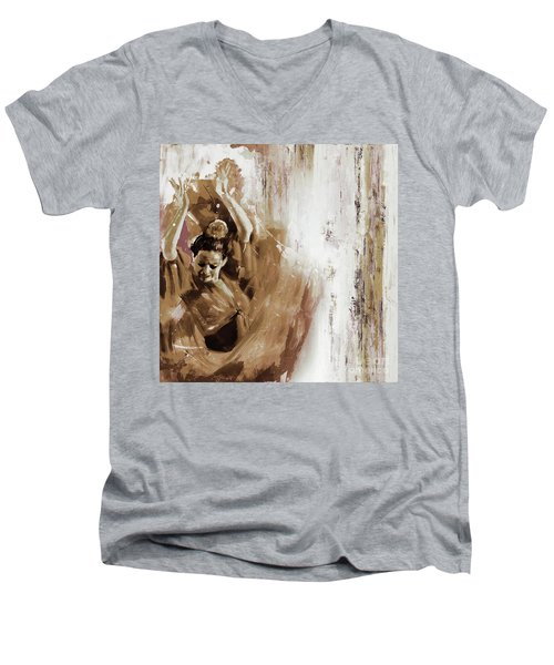 Men's V-Neck T-Shirt featuring the painting Spanish Woman Dance  by Gull G