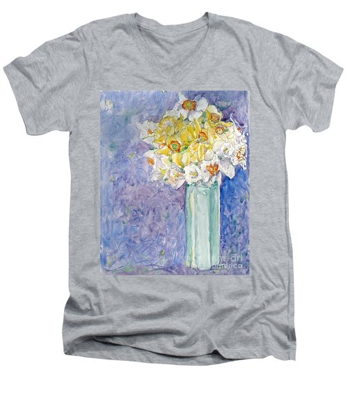 Spring Blossoms Men's V-Neck T-Shirt by Jan Bennicoff
