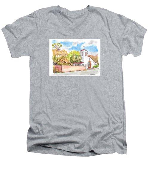 St. Catherine Of Alexandria Catholic Church, Avalon, Santa Catalina Island, Ca Men's V-Neck T-Shirt