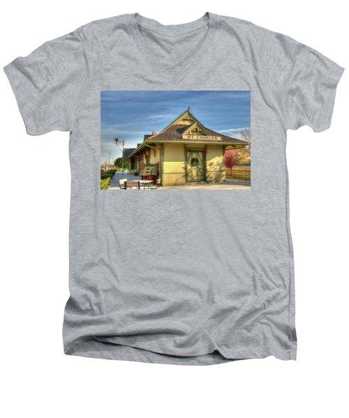 St. Charles Depot Men's V-Neck T-Shirt by Steve Stuller