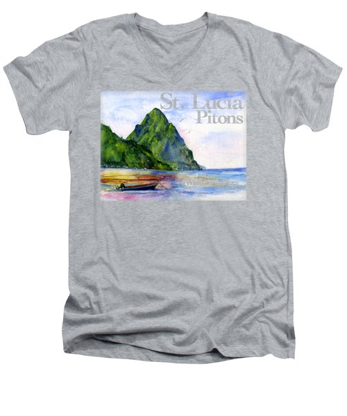 St. Lucia Men's V-Neck T-Shirt