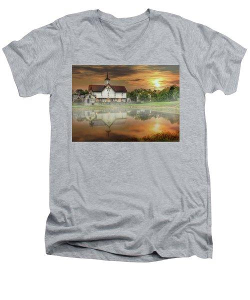 Men's V-Neck T-Shirt featuring the mixed media Star Barn Sunrise by Lori Deiter
