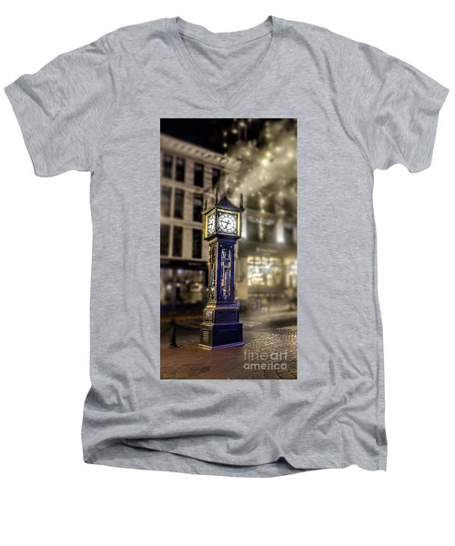 Men's V-Neck T-Shirt featuring the photograph Steam Clock by Jim  Hatch