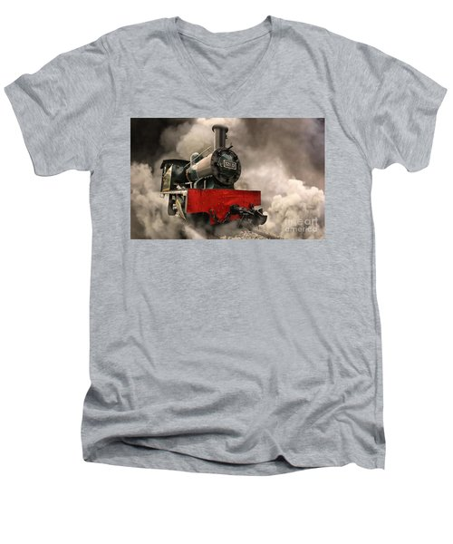 Men's V-Neck T-Shirt featuring the photograph Steam Engine by Charuhas Images