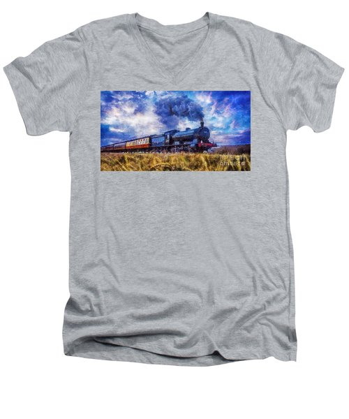 Steam Train Men's V-Neck T-Shirt by Ian Mitchell