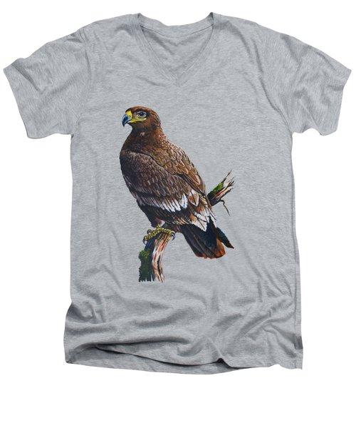 Steppe-eagle Men's V-Neck T-Shirt by Anthony Mwangi