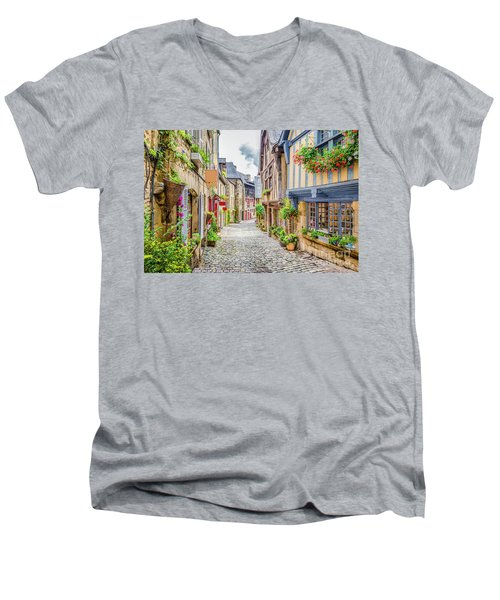 Streets Of Dinan Men's V-Neck T-Shirt by JR Photography