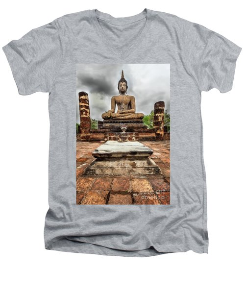 Men's V-Neck T-Shirt featuring the photograph Sukhothai Historical Park by Adrian Evans