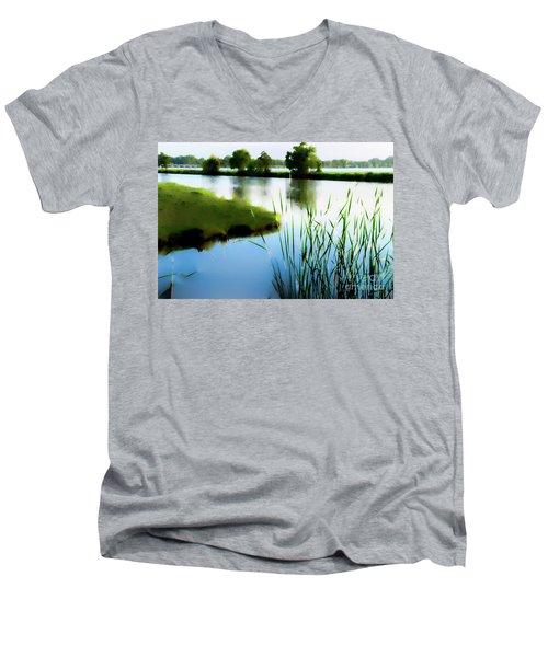 Men's V-Neck T-Shirt featuring the mixed media Summer Dreams by Betty LaRue