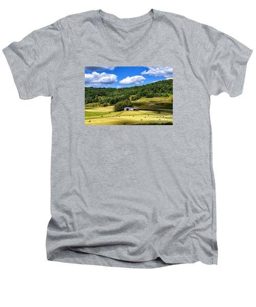 Summer Morning Hay Field Men's V-Neck T-Shirt by Thomas R Fletcher
