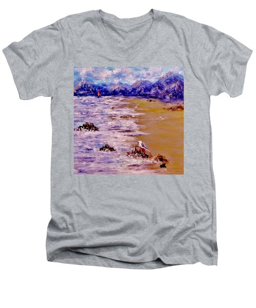 Men's V-Neck T-Shirt featuring the painting Summer Whispers.. by Cristina Mihailescu