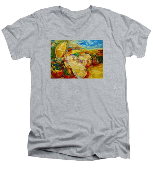 Men's V-Neck T-Shirt featuring the painting Sun Set by Emery Franklin