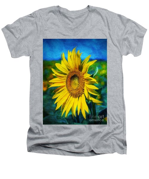 Sunflower Men's V-Neck T-Shirt by Ian Mitchell
