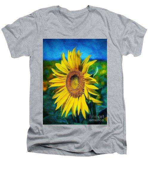 Sunflower Men's V-Neck T-Shirt by Ian Mitchell