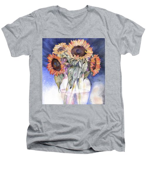 Sunflowers Men's V-Neck T-Shirt by Nadine Dennis