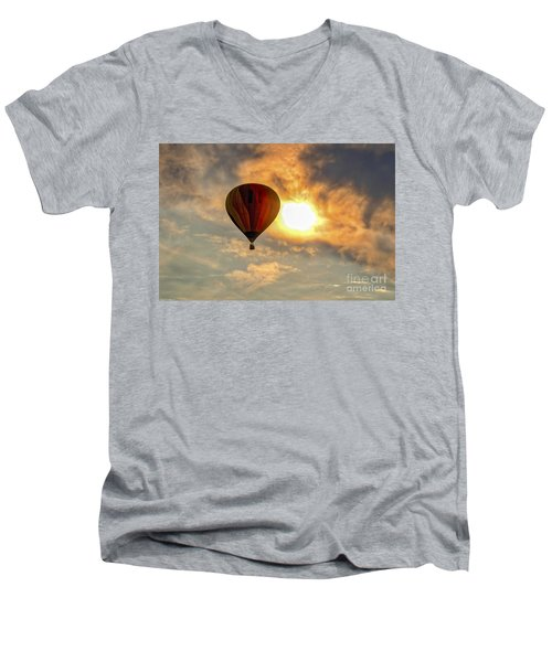 Men's V-Neck T-Shirt featuring the photograph Sunrise Flight by Mitch Shindelbower