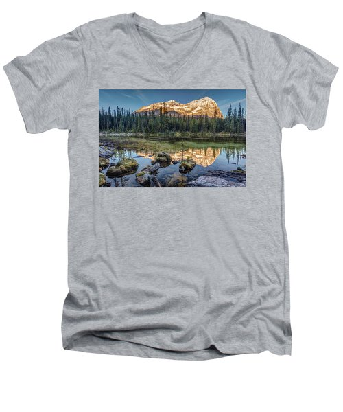 Sunrise In The Rocky Mountains Men's V-Neck T-Shirt by Pierre Leclerc Photography