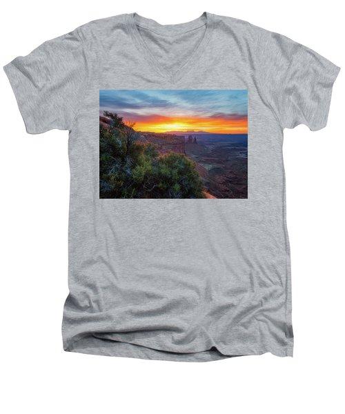 Sunrise Over Canyonlands Men's V-Neck T-Shirt by Darren White