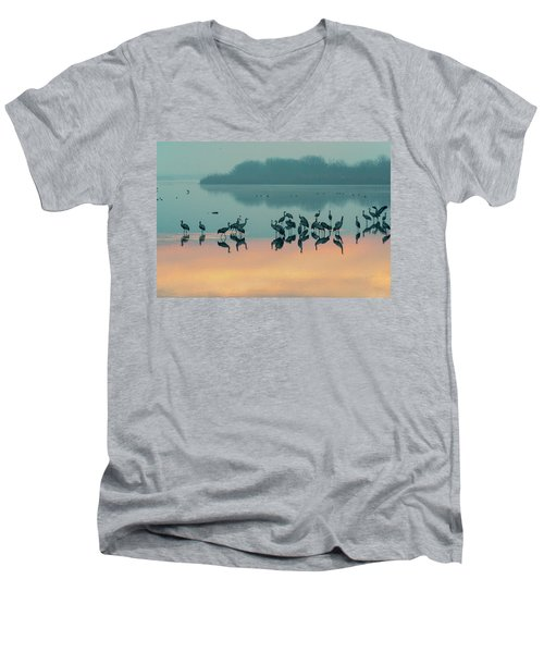 Sunrise Over The Hula Valley Men's V-Neck T-Shirt by Dubi Roman
